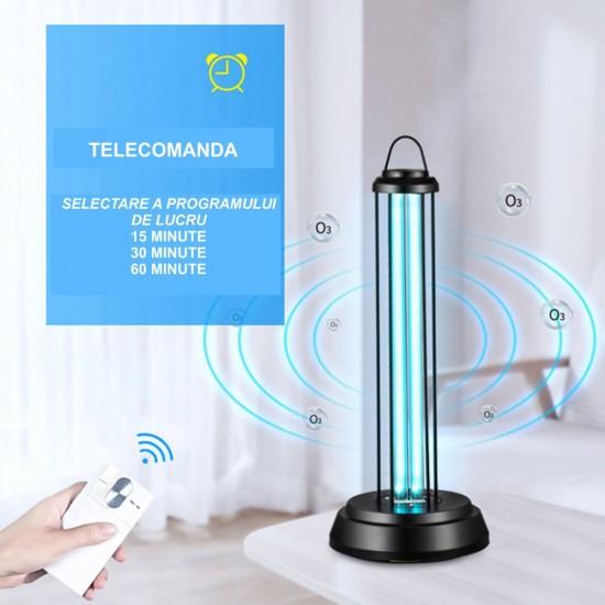 Lampa UV C dezinfectie sterilizare si bactericida - fara OZON - 38W - telecomanda